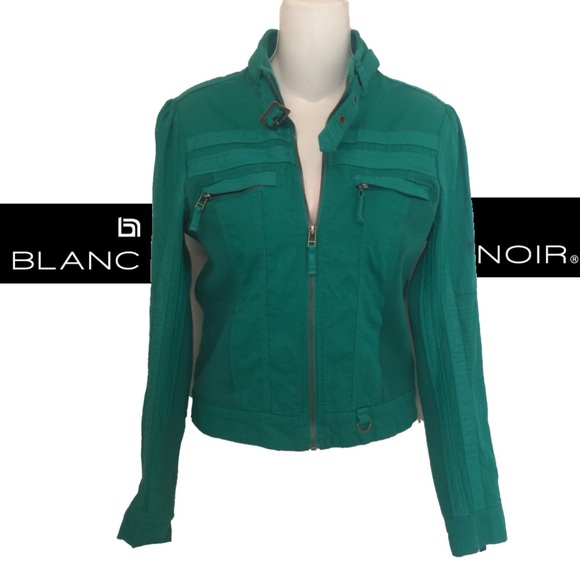 blanc noir Jackets & Blazers - Blanc Noir Vegan Knit ZIP Detail Moto Jacket
